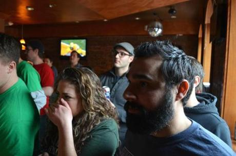 Christina Cusolito watched as Jenn Foxon prepared to roll in the final frame during skeeBOSTON's December championship game at the Greatest Bar.